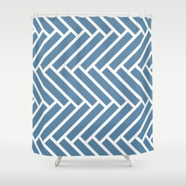 Grayish blue and white herringbone pattern Shower Curtain