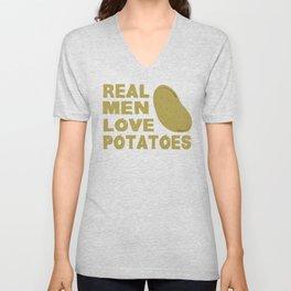 Real Men Love Potatoes Funny Vegan Food T-Shirt Unisex V-Neck