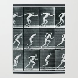 Time Lapse Motion Study Man Running Monochrome Poster