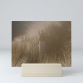 Young lady with hat  Dune grass, Netherlands  Soft colored wall art  Fine art travel photography  Mini Art Print