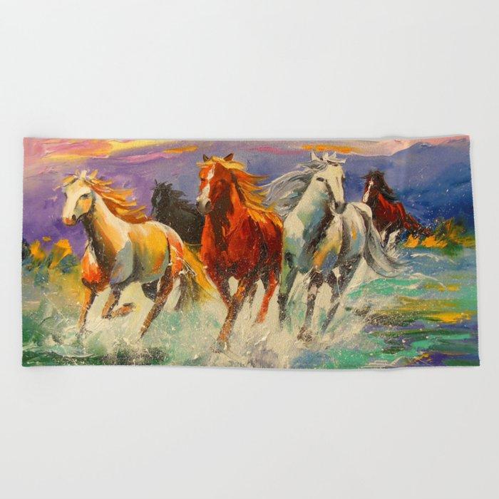 A herd of horses Beach Towel