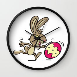 Easter bunny and rolling Easter egg Wall Clock