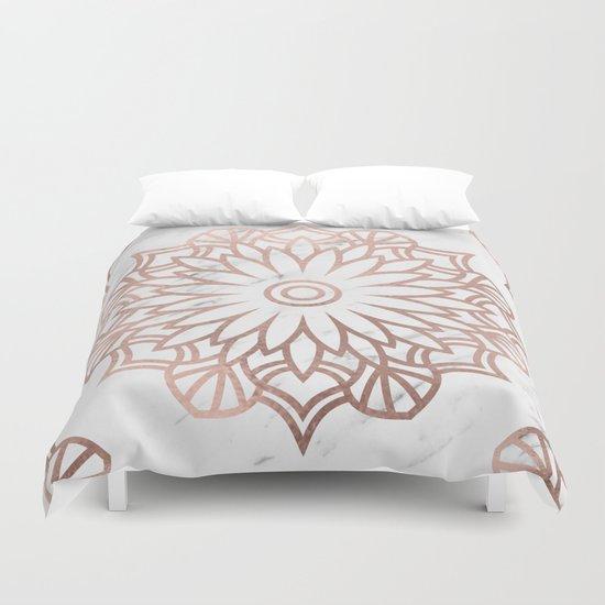 Marble Mandala Floral Rose Gold On White Duvet Cover By