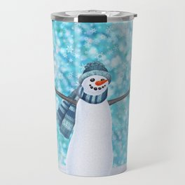snowman and tufted titmouse flock Travel Mug
