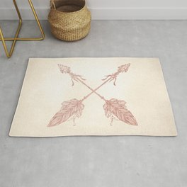 Tribal Arrows Rose Gold on Paper Rug