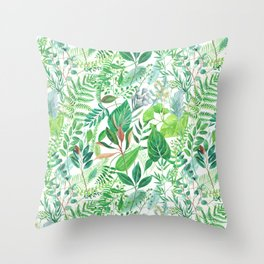 greenery watercolor pattern Throw Pillow