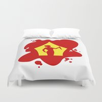 hitchcock Duvet Covers featuring Psycho  |  Blood Spatter Window Silhouette  |  Alfred Hitchcock by Silvio Ledbetter
