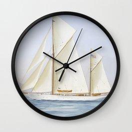 Vintage Racing Ketch Sailboat Illustration (1913) Wall Clock