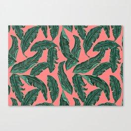 Banana leaves tropical leaves green pink #homedecor Canvas Print