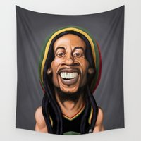 reggae Wall Tapestries featuring Celebrity Sunday - Robert Nesta Marley by rob art | illustration