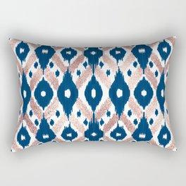 Artsy Modern Rose Gold Navy Blue Ikat Geo Rectangular Pillow