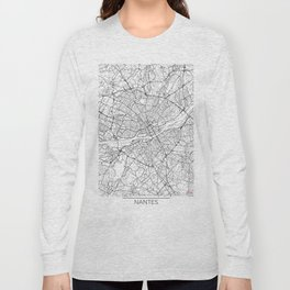 Nantes Map White Long Sleeve T-shirt
