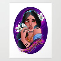 jasmine Art Prints featuring Jasmine by Little Lost Forest