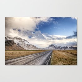 The road past the volcano. Canvas Print