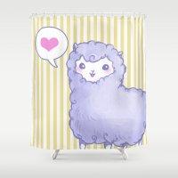 alpaca Shower Curtains featuring Alpaca by Nurt