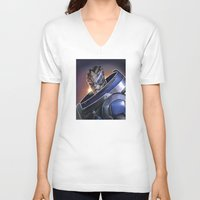 garrus V-neck T-shirts featuring Garrus Vakarian Portrait - Mass Effect by MarcoMellark