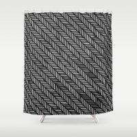 herringbone Shower Curtains featuring Herringbone by Sharon H.