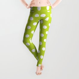 Lime Green and White Polka Dots Pattern Leggings
