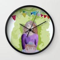 happy birthday Wall Clocks featuring Happy birthday! by Oh Lapislazuli