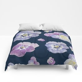 Watercolor Pansy Pattern (Navy Background) Comforters