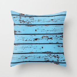 Blue Wooden Planks Throw Pillow