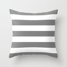 Gray (HTML/CSS gray) -  solid color - white stripes pattern Throw Pillow