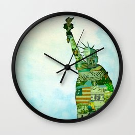 Lady Liberty Collage Poster Wall Clock