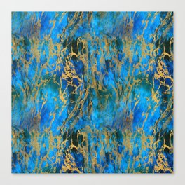 Blue and Gold Swirls Canvas Print