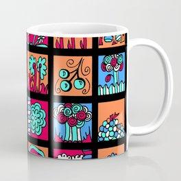 Apples Trees and Flowers Mini Doodle Art - Black Red Blue Coffee Mug