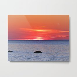 The Rock, The Sea and The Setting Sun Metal Print