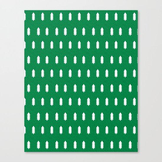 Christmas Trees minimal modern green and white holiday christmas decor Canvas Print