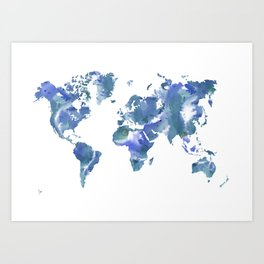 Watercolour World Map (blue/green/white) Art Print