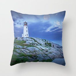 Lighthouse at Peggy's Cove in the Moonlight Throw Pillow