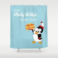 willy wonka Shower Curtains featuring Chilly Willy  by Designs By Misty Blue (Misty Lemons)