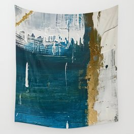 Rain [3]: a minimal, abstract mixed-media piece in blues, white, and gold by Alyssa Hamilton Art Wall Tapestry