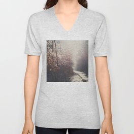 snow falling on an English country road print Unisex V-Neck