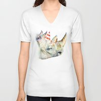 party V-neck T-shirts featuring Rhino's Party by Brandon Keehner