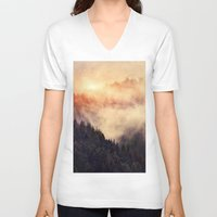 woodland V-neck T-shirts featuring In My Other World by Tordis Kayma