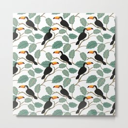 Toucan birds and palm leaves in the jungle Metal Print