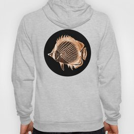 Fish nautical coastal in black background Hoody