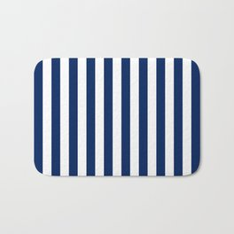 Navy and White Small Even Stripes Bath Mat