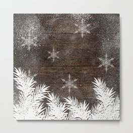 Winter white snow pine trees brown rustic wood Christmas Metal Print