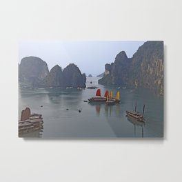 Sailboats in Ha Long Bay Metal Print
