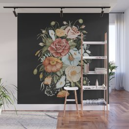 Roses and Poppies Bouquet on Charcoal Black Wall Mural