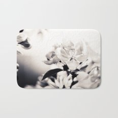 Black and White Flowers 2 Bath Mat