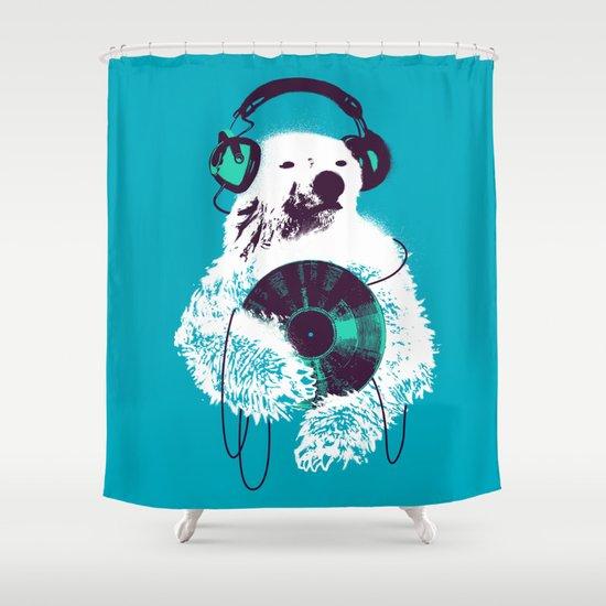 Record Bear Shower Curtain