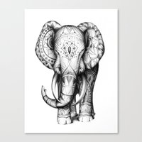 ornate elephant Canvas Prints featuring Ornate elephant by Creadoorm