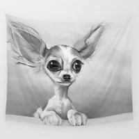 chihuahua Wall Tapestries featuring Chihuahua by Richtoon