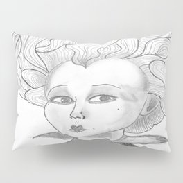Queen of Hearts from Alice in Wonderland Original Pencil on Paper Pillow Sham