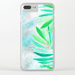 green teal sparkle glittter Clear iPhone Case